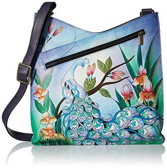 Anuschka Anna by Women's Genuine Leather Large V Top Multi-Compartment Cross Body | Hand Painted Original Artwork |