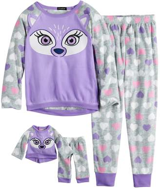 Cuddl Duds Girls 4-12 Critter Fleece Top & Bottoms Pajama Set & Doll Pajama Set