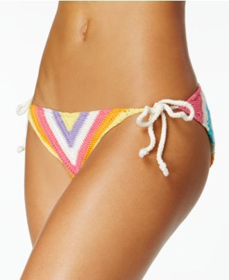 Bar III Crochet Side-Tie Bikini Bottoms, Created for Macy's