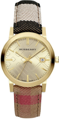 Burberry Women's Housecheck Fabric Strap Watch 38mm BU9041 $595 thestylecure.com