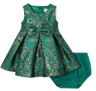 Children's Place The BABY GIRL GREEN JACQUARD DRESS