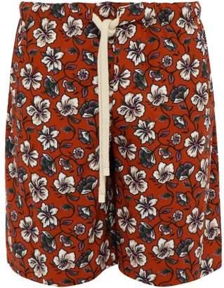 Loewe Floral Print Drawstring Shorts - Mens - Black Brown