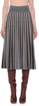 Agnona Pleated Multicolor Fine Merino Wool Pull-On Midi Skirt