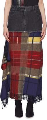 Sonia Rykiel Tartan plaid drape fringe panel denim skirt