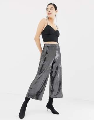 Miss Selfridge wide leg cropped pants in gunmetal sequin