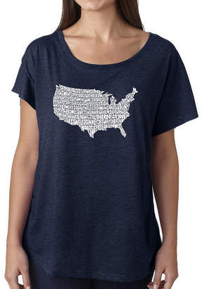 LOS ANGELES POP ART Los Angeles Pop Art Women's Loose Fit Dolman Cut Word Art Shirt - THE STAR SPANGLED BANNER