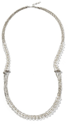 Crystal Pearl Silvertone Crystal/Pearl Long Necklace