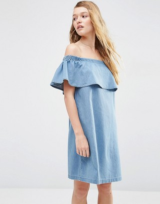 ASOS Denim Bardot Off Shoulder Dress With Ruffle $57 thestylecure.com