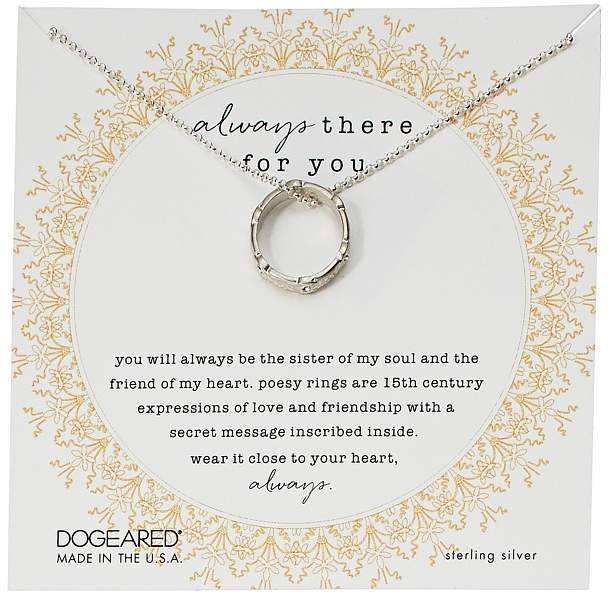 Dogeared Always There For You, Crystal Poesy Ring Necklace