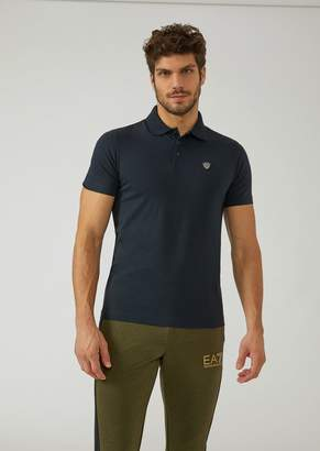 Emporio Armani Ea7 Stretch Cotton Polo Shirt With Logo On The Front