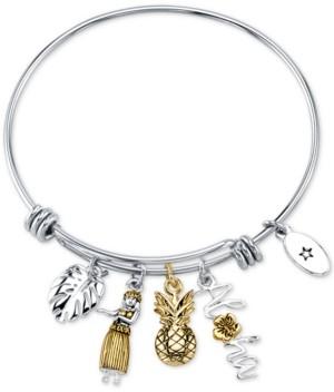 "Unwritten Aloha"" Charm Adjustable Bangle Bracelet in Gold-Tone & Stainless Steel"