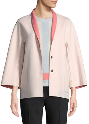 Escada Snap-Front Long-Sleeve Reversible Wool-Cashmere Coat