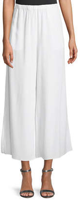 Eileen Fisher Crepe Wide-Leg Ankle Pants, Petite