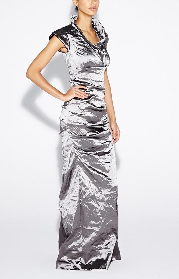 Nicole Miller Astor Techno Metal Gown
