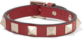 Valentino Garavani The Rockstud Leather And Gold-tone Bracelet - Red