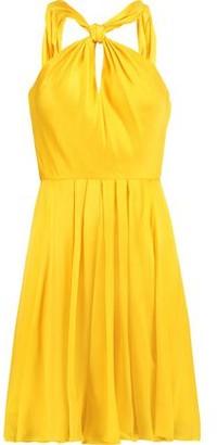 Halston Knotted Pleated Silk-Satin Mini Dress
