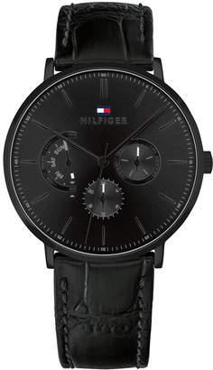 Tommy Hilfiger Men Black Leather Strap Watch 40mm