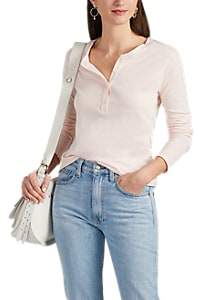 Barneys New York Women's Slub Cotton-Cashmere Long-Sleeve Henley - Pink