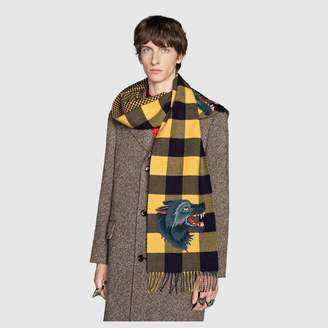 Gucci Check wool cashmere scarf with wolf