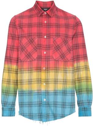 Amiri faded plaid tie-dye shirt