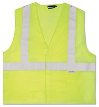 ERB 14511 S15 ANSI Class 2 Mesh Safety Vest with Pockets, Lime, Large, 100 percent polyester mesh By