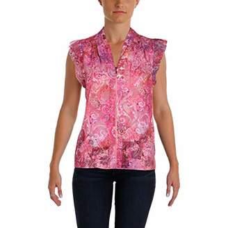 T Tahari Women's Esme Printed Sleeveless Blouse