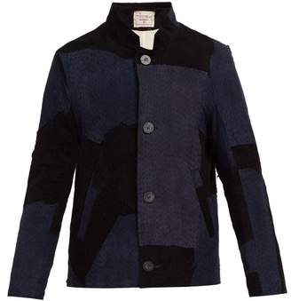 By walid By Walid - Murat Patchwork Suede Jacket - Mens - Dark Navy