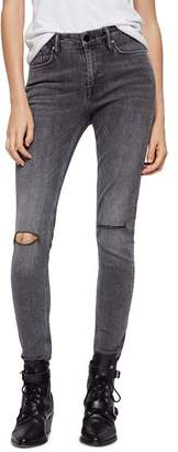 AllSaints Grace Distressed Skinny Jeans in Washed Black