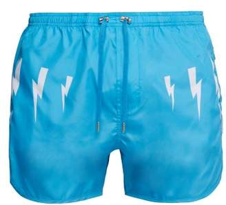 Neil Barrett Lightning Bolt Print Swim Shorts - Mens - Blue White