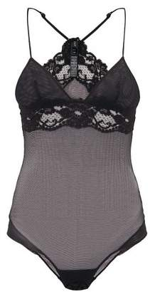 La Perla Tres Souple Mesh And Lace Trimmed Bodysuit - Womens - Black