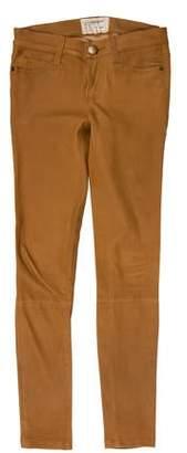 Current/Elliott Lamb Leather Mid-Rise Jeans