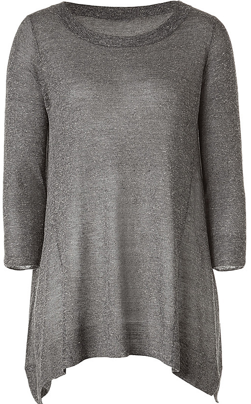 VINCE Slate Melange Side Draped Lightweight Sweater