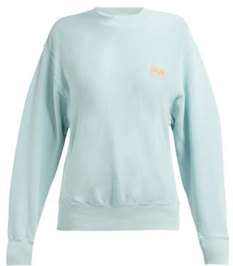 Aries Logo Print Cotton Sweatshirt - Womens - Light Blue