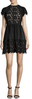 Rebecca Taylor Cap-Sleeve Mixed-Lace Dress, Black $695 thestylecure.com