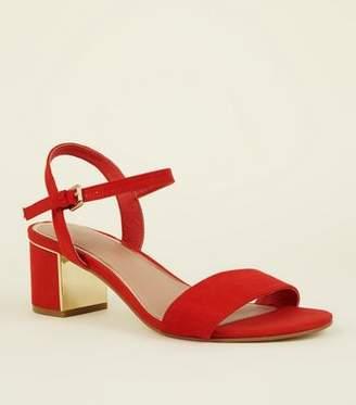 New Look Wide Fit Red Suedette Metal Mid Block Heels