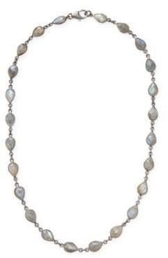 Labradorite and Silver Bezeled Station Necklace