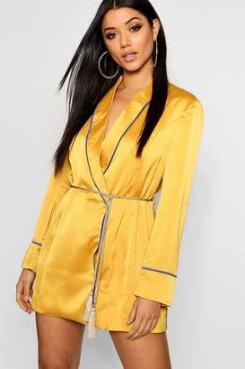 boohoo Satin Piping Detail Belted Blazer Dress