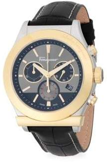 Salvatore Ferragamo Stainless Steel Chronograph Leather-Strap Watch