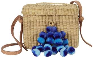 Nannacay Roge Blue Pom Straw Basket Bag