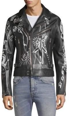 Diesel Black Gold DBG Graffiti Leather Moto Jacket