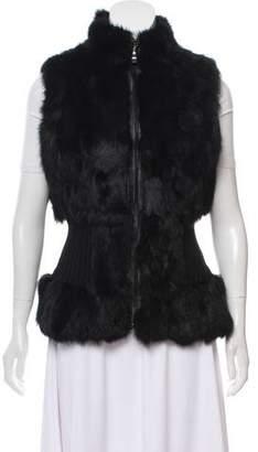 Leather-Trimmed Fur Vest