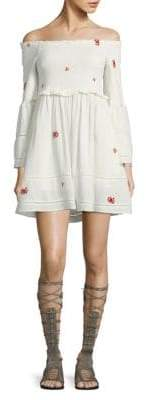 Free People Counting Daisies Embroidered Off-The-Shoulder Mini Dress