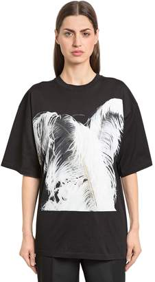Maison Margiela Feather Print Cotton Jersey T-Shirt