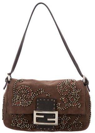 Fendi Ricami Embellished Baguette Bag