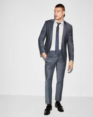 Express Extra Slim Blue Performance Stretch Wool-Blend Suit Pant