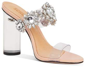 Schutz Women's Blanck Crystal-Embellished Clear Block Heel Sandals