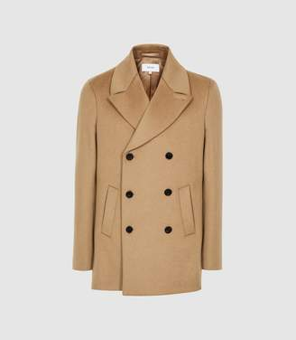 Reiss Hector - Wool Blend Double Breasted Coat in Camel