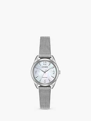 Citizen EM0680-53D Women's LTR Eco-Drive Mesh Bracelet Strap Watch, Silver/Mother of Pearl
