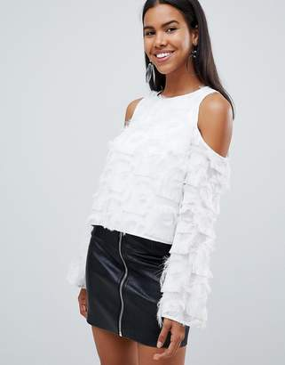 Rare London cold shoulder fringe blouse