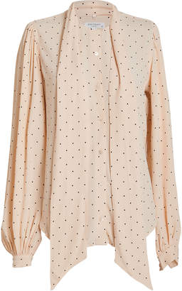 Equipment Cleone Tie Neck Polka Dot Blouse